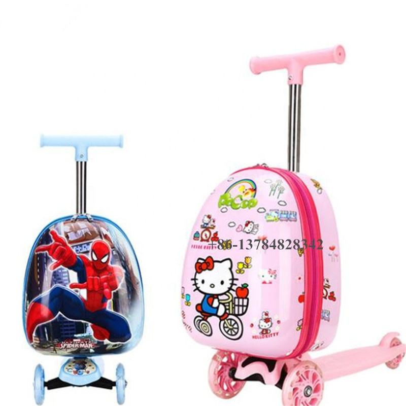 Amazon three PU flash wheel custom design 19inch airport travel 3D trolley children foldable kids kick suitcase scooter luggage