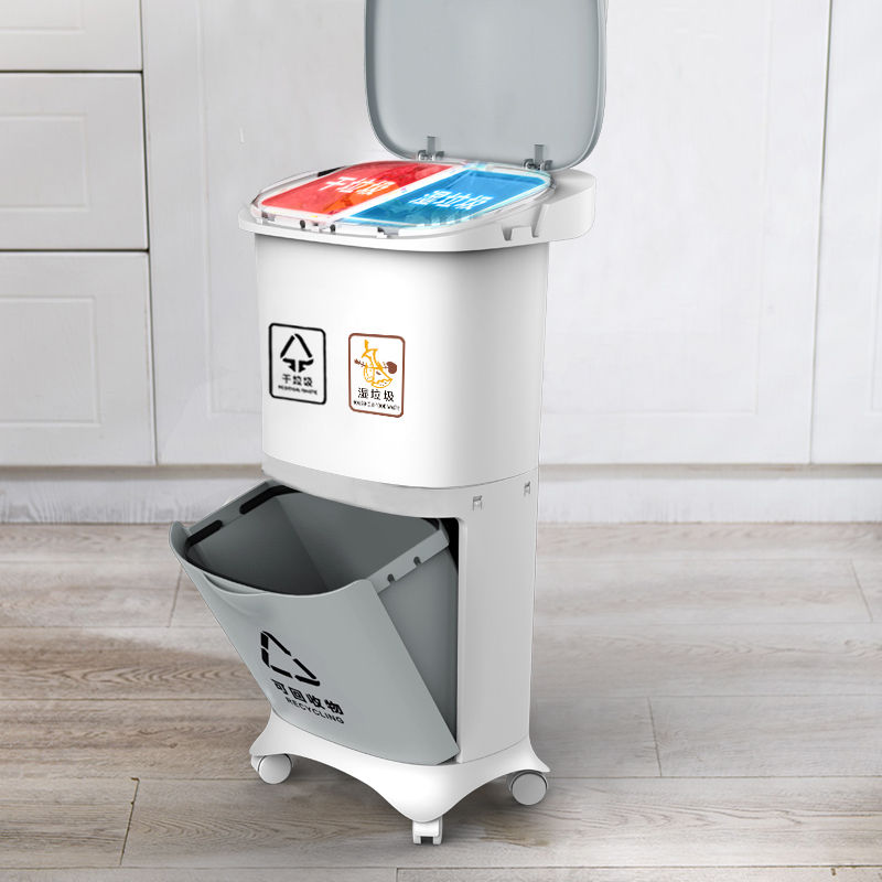 White Convenient DOUBLE BIN/household plastic trash bin/sorting garbage can