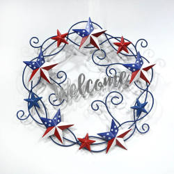 July 4th Independence Day Metal Wreath Welcome Wall Hanging