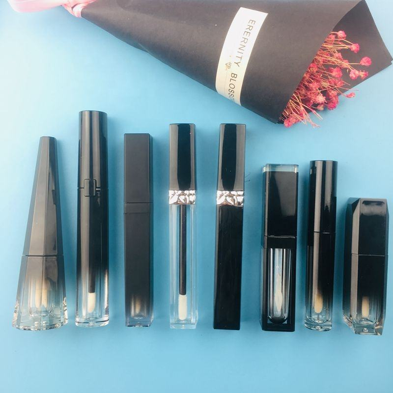 DIY custom empty lipgloss tube choose lipgloss tube and color print logo lip gloss container tube with wand