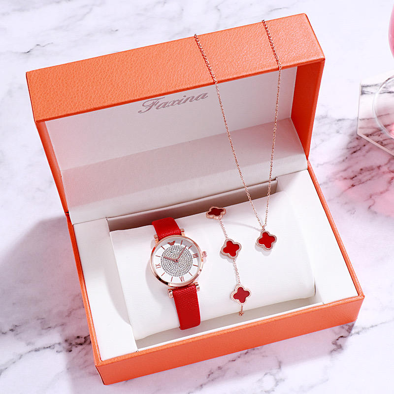 New Style FAXINA Ladies Luxury Diamond Watches Gift Suits High Quality Fashion Design Jewelry Women Set