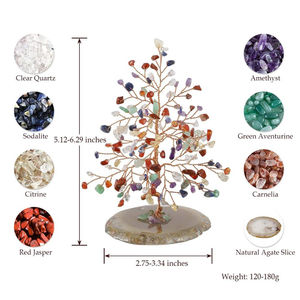 Custom Natural Jewelry Crystal Money Tree Quartz Healing Gemstone Tree Agate Crystal Tree Of Life