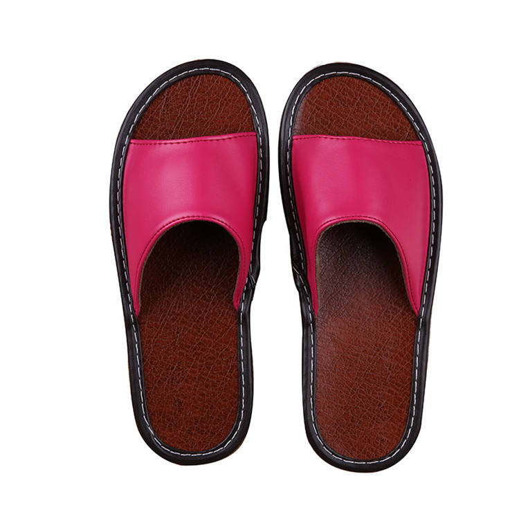 Lives in summertime indoor men and women cool leather summer solid floor slipper