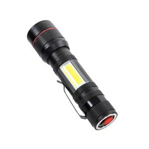 LED Flashlight Rechargeable dengan Cob Sidelight, Port Pengisian USB Torch Taktis Senter Mini Saku Genggam Senter