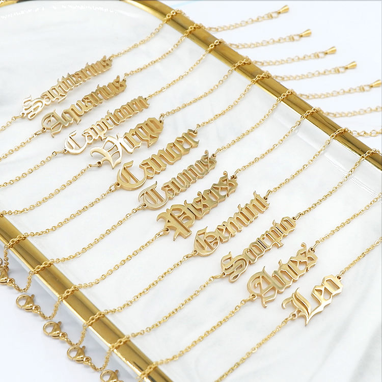 Wholesale 18k gold plated stainless steel zodiac charm bracelet women