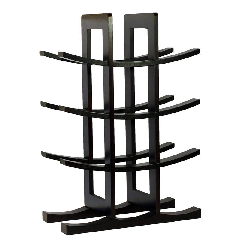 Wholesale pine wood 3-tier wooden wine rack can hold up to 12 bottles