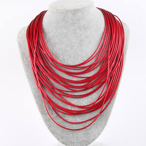 XL107 Amazon hot selling personality multi strand statement bib necklace for women