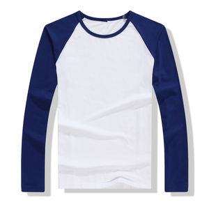2019 Autumn Winter Long Sleeve Men Contrast Color Round Collar Cotton Mens Raglan T-Shirts