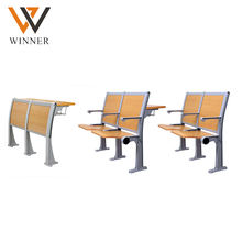 student furniture fold university ladder hall chairs wooden backrest 2-seater school college step chairs with armrest