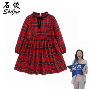 Shijun kids winter dress Tartan Kids Boutique Girls Dresses Children's wear dresses