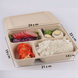 1340ml 4 Compartment Amazon Lunch Box Biodegradable Takeaway Paper Food Container Bento Box Food Storage Box