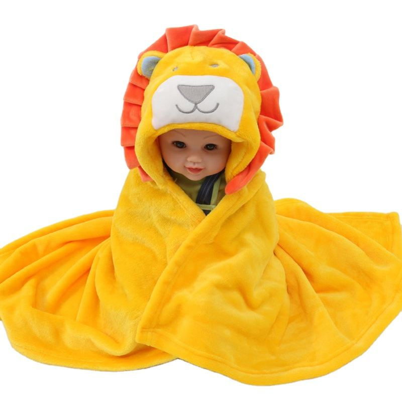Ultra soft kids hooded blankets baby bath towel cute lion design plush hoods
