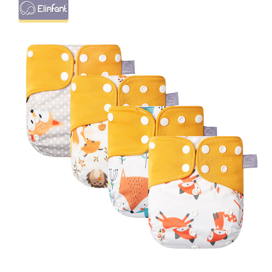 Elinfant new 4 pack set baby cloth diaper reusable washable cloth diaper nappies OEM print