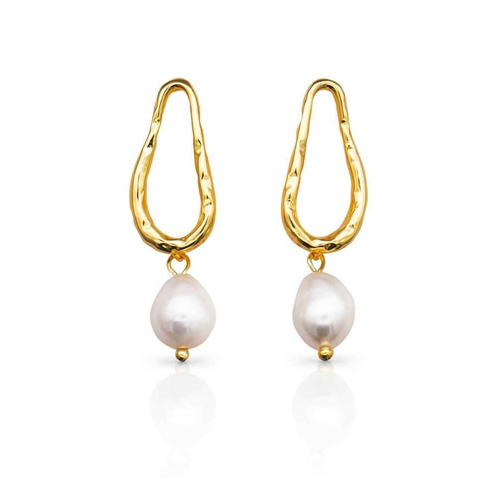 Gold Plated [ Gold Pearl Earrings ] Pearl 925 Sterling Silver 18k Gold Plating Natural Freshwater Baroque Pearl Earrings