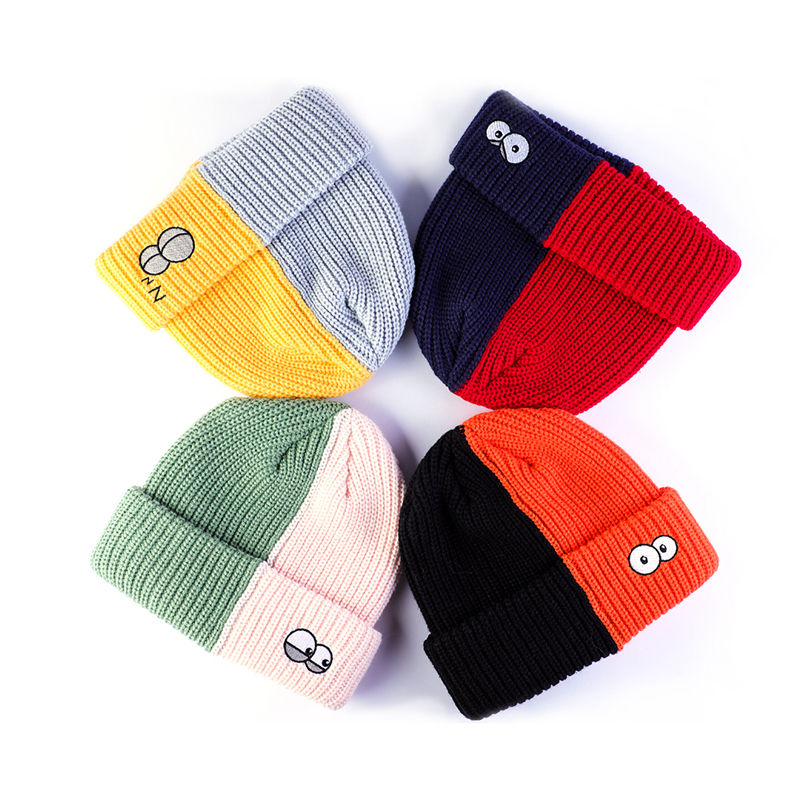 Bulk OEM winter unisex casual soft hats personalised embroidered logo hat two tone beanie