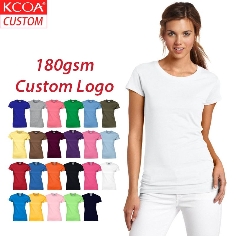 KCOA Womens Plain White Tshirt Unisex Girls Printed T-Shirts 100% Organic Cotton Comfortable Casual Tee Shirt