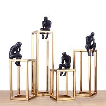 Hot Sale Europe Retro Meditation Thinker Statue Ornaments Golden Home Office Decoration