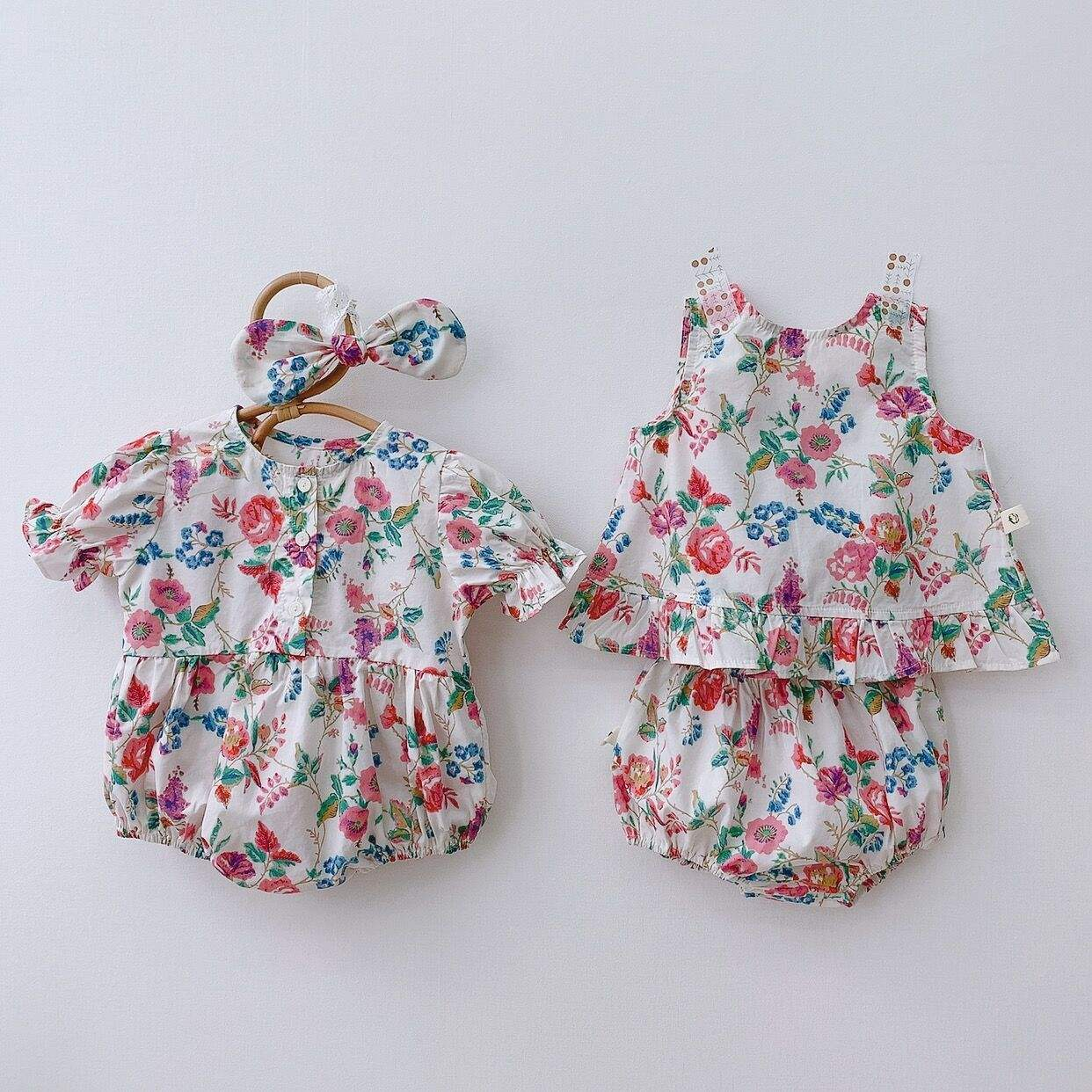 Wholesale kids floral romper set baby girls' rompers