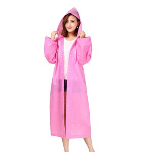 OEM pink EVA rainwear custom plastic raincoat