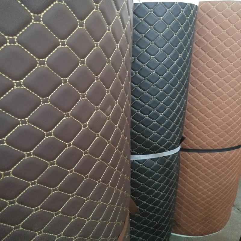diamond sponge quilted embroidery leather fabric with stitching