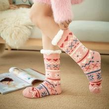 New design Knit Womens Thick Sherpa Fleece Lined Thermal Fuzzy Christmas Snowflake Slipper Socks