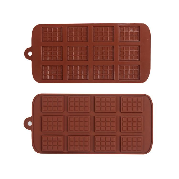 2019 New 12 Cavities Large Luxury Custom 3D Silicone Gummy Hollow Baking Tray Candy Bar Chocolate Chip Molds Tools Square