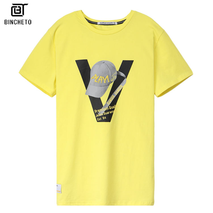 hip hop t-shirt men printed cap yellow cotton men graphic t shirts