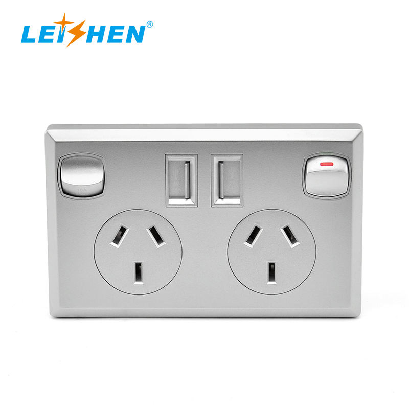 Leishen Black Silver White Micro Usb Socket Electrical Socket Switches Smart Wall Socket Australian powerpoint with usb chargers