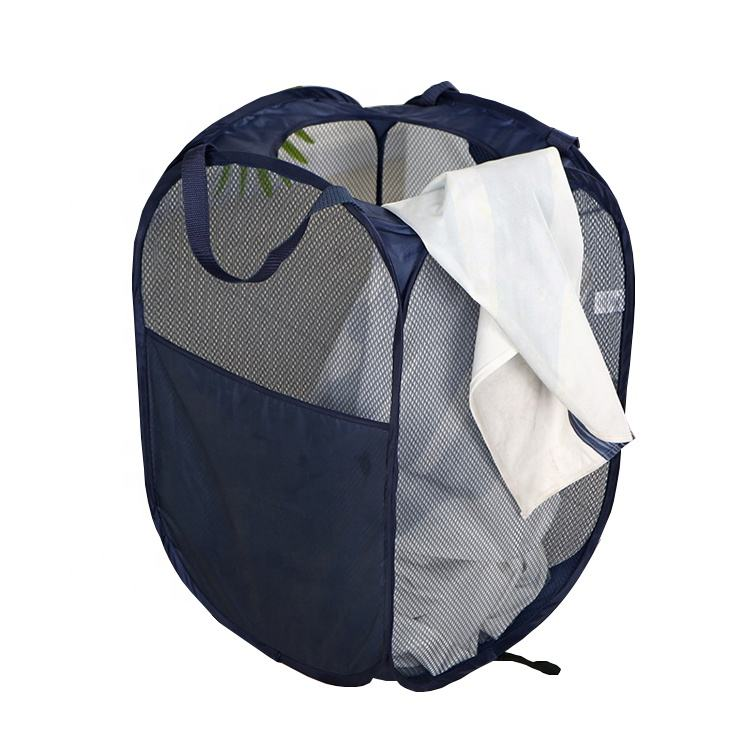 Free Sample Blue Pop Up Mesh Laundry Hamper With Side Pocket And Reinforced Handles