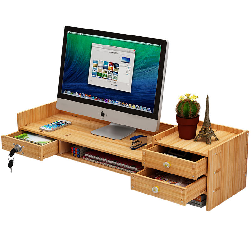 Adjustable Wood Monitor Stand Riser with 3 Storage Drawers, Bamboo Monitor Riser for Computer, Laptop, Printer, Desk Organizer