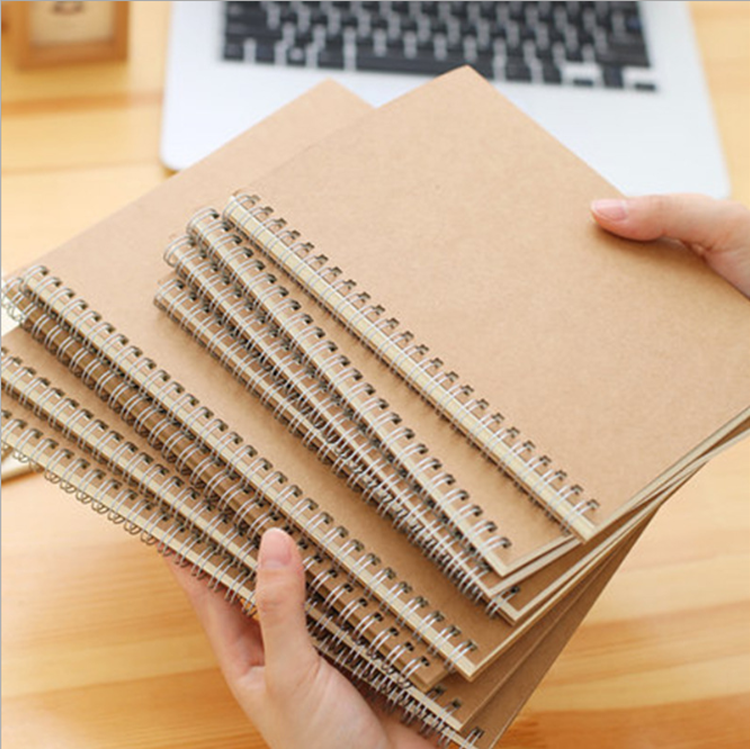 Wholesale custom Personalized hardcover bulk A4 A3 Kraft spiral notebook
