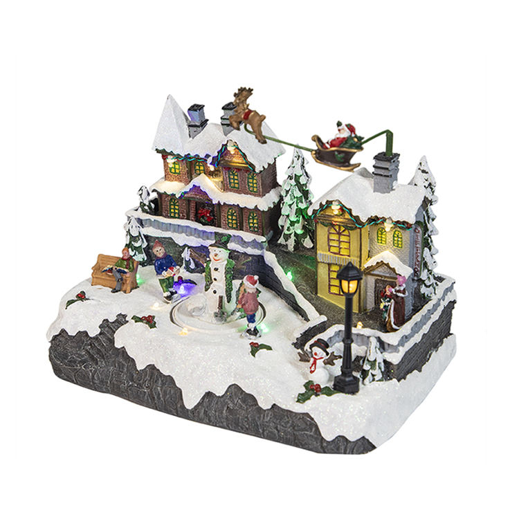 "13"" Christmas village snowman skating rinks with LED lights"