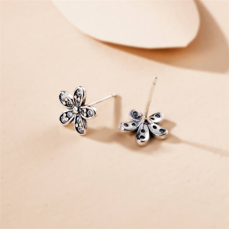 Original Handmade Authentic 925 Sterling Silver Dazzling Sun Flower Stud Earrings Clear Crystal Diy Jewelry