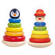 Rainbow Stacking Penguin Tower Eco-friendly Safety Intelligent Baby Educational Wooden Toy