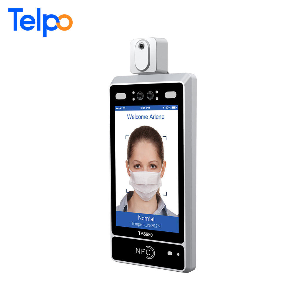 Face Time Recording Telpo Wall Mount/ Standalone Biometric Facial Recognition Time Clock Device With Electronic Thermometer