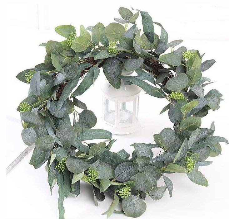 Dried Door Eucalyptus Wreath Eucalyptus Vine Green Leaf Garland Leaves Artificial Ivy Greenery Plants Vine
