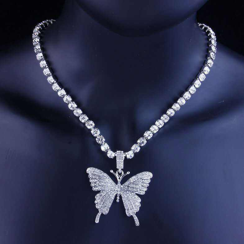 High quality 3A Cubic Zircon Paved Bling Ice Out Rhinestone Butterfly Pendant Necklace For Men Women