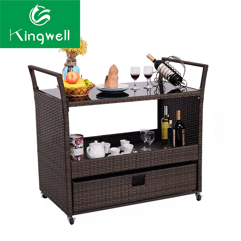 Commercial use bar furniture rattan bar cart wine food outdoor beach bart
