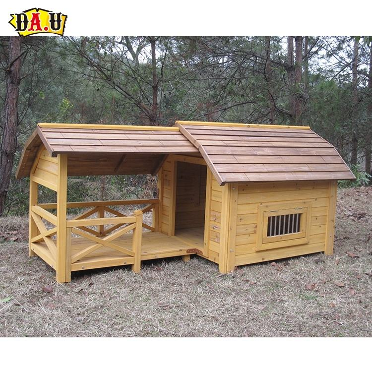 Good design luxury wooden large outdoor dog breeding house kennel winter with extended porch