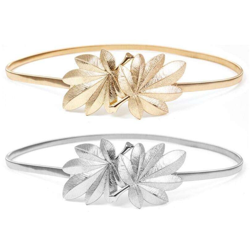 WIIPU Bridal Wedding Waistband Elastic Metal Maple Leaf Shape Women Party Dress Buckle Belt Simple Girl Accessories