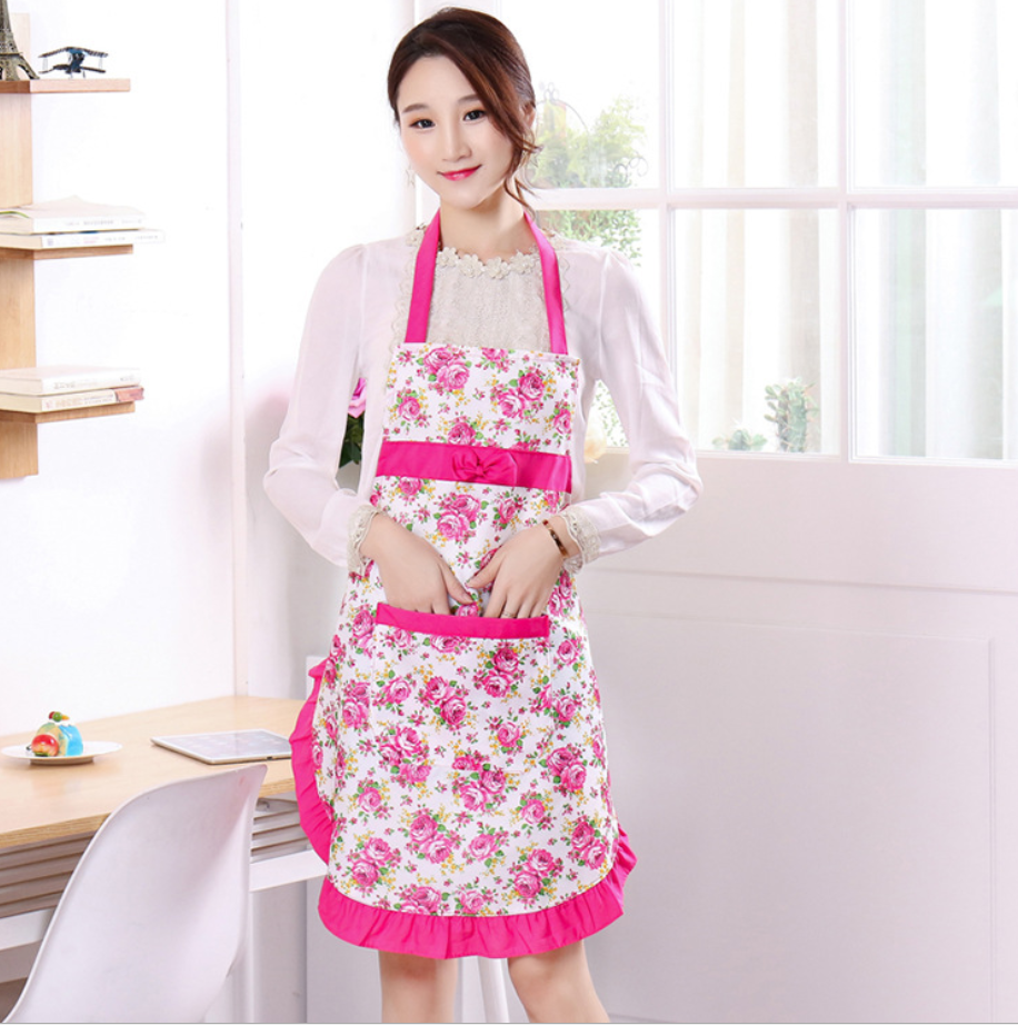 Wholesale Cheap Women Cute Flower Print Home Cleaning Aprons with Pocket for Kitchen Cooking