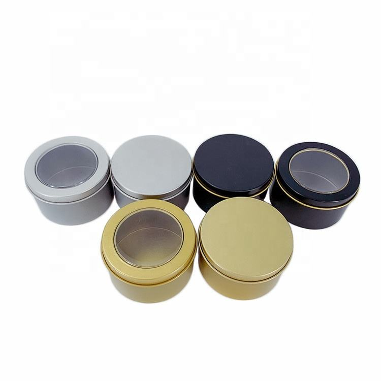 Factory Direct Custom Logo DIY Aroma Candle Tinplate Cans 2 Ansi 100G Tea Round Tin Box With Clear Window