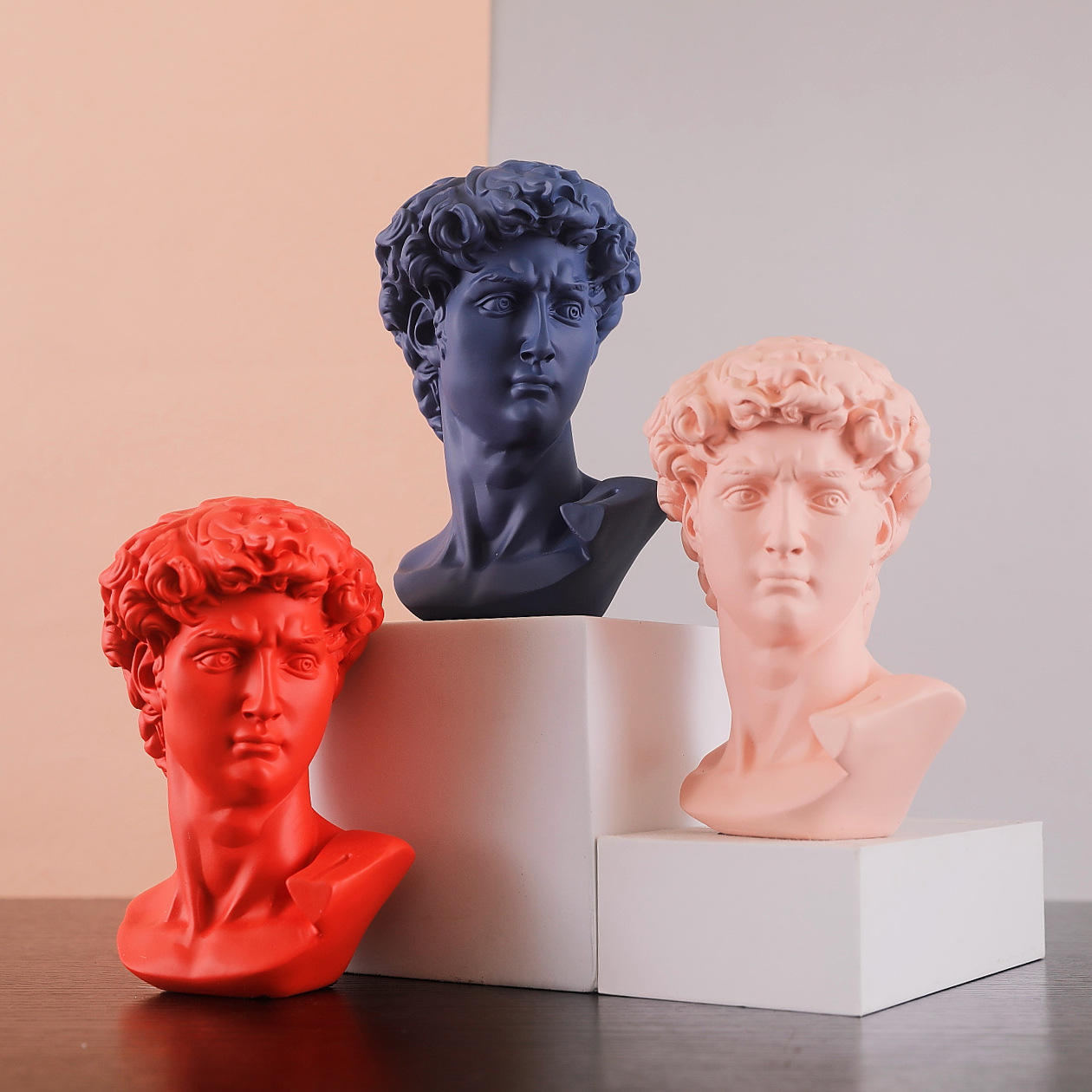 Dropship David Statue Bust Head Sculpture Cheap Red Blue White Resin The David Bust