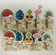 DIY color wooden clips pegs clothespins with watermelon,pineapple,crane,leaf designs