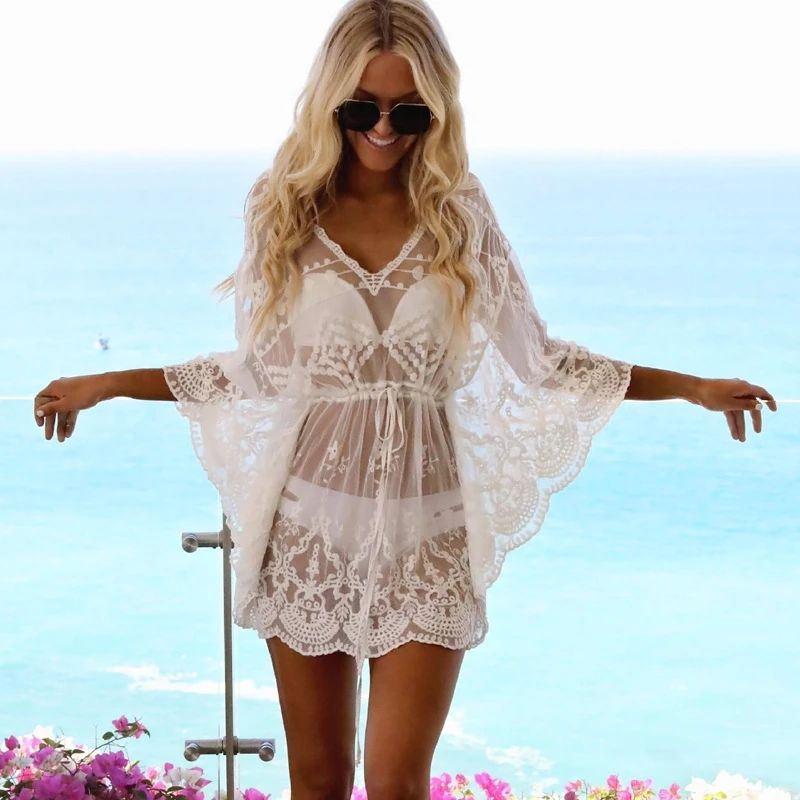 Women Bikini Cover Up Solid Lace Hollow Swimsuit Beach Dress 2021 Summer Ladies Cover-Ups Bathing Suit Beach Sexy Wear Tunic
