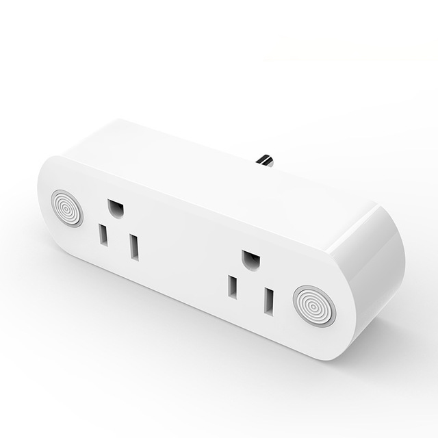 2 in 1 Wireless Smart Plug Outlet 15A Tuya Control Alexa Ifttt Google home Wifi Socket with Power Monitor