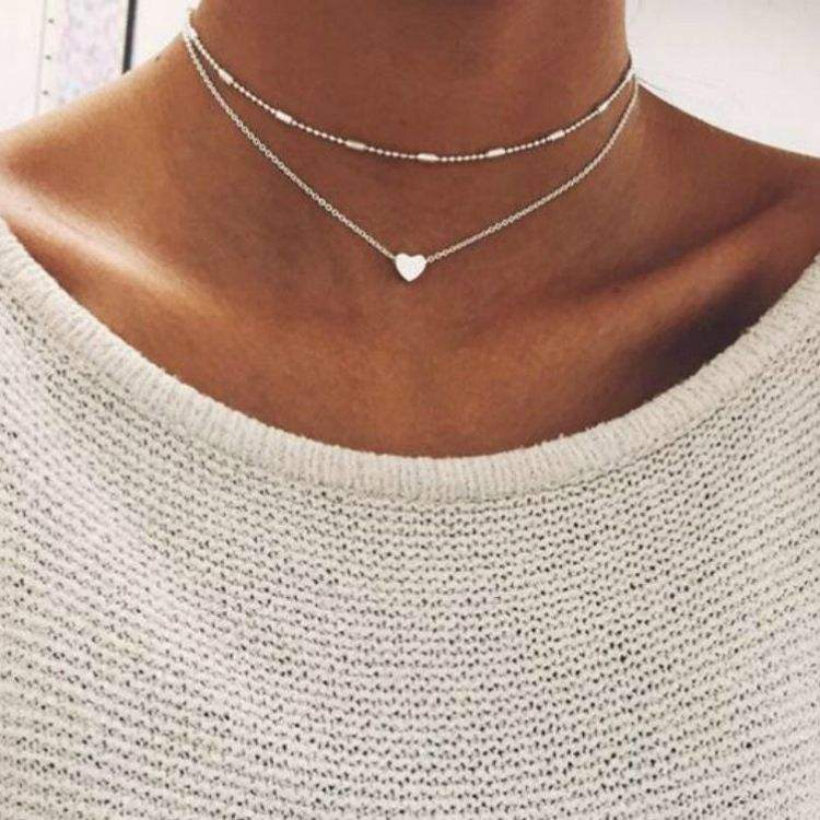 new Adornment simple and elegant fashion girls street pat adornment copper peach heart multilayered choker necklace