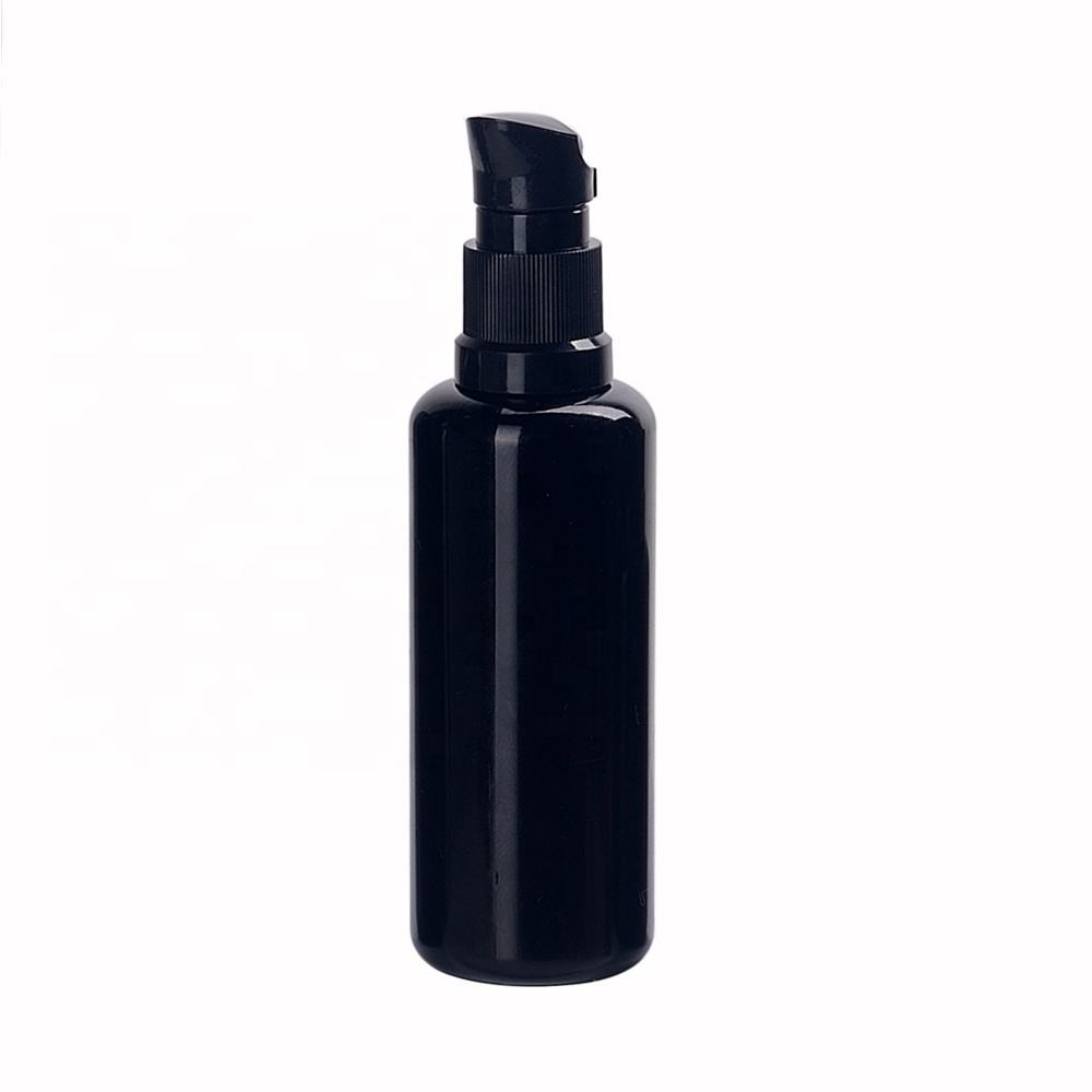 empty cosmetic packaging violet black optical glass bottle 50ml essential oil dispenser