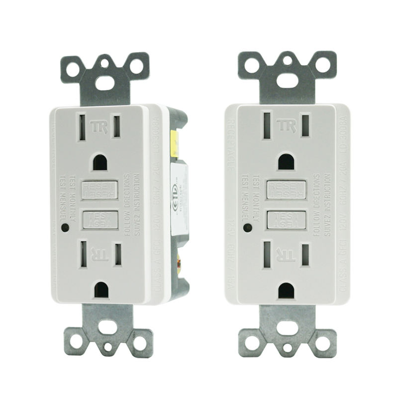 2 Pack Safe Lock <span class=keywords><strong>GFCI</strong></span> Outlet 15Amp Tamper Resistant Receptacle mit LED anzeige