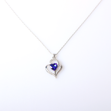 V&R 2019 New Fashion Heart The Ocean Blue Stone 925 Sterling Silver Crystal Rhinestones Pendant Necklace
